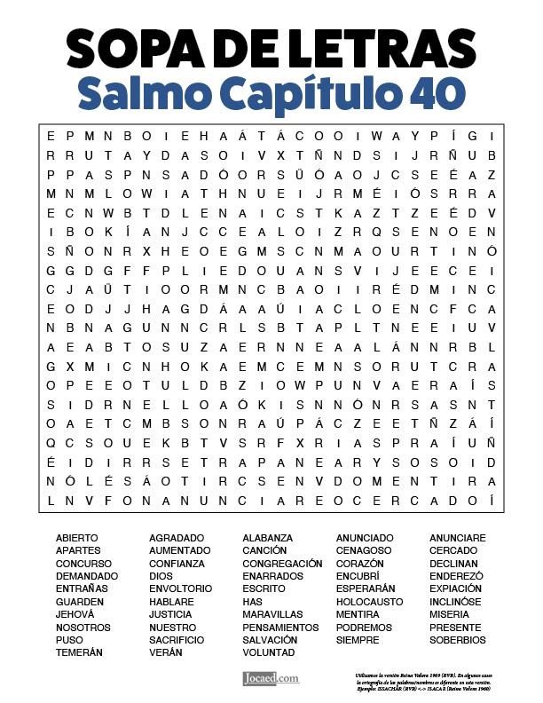 Sopa de Letras - Salmos Cápitulo 40