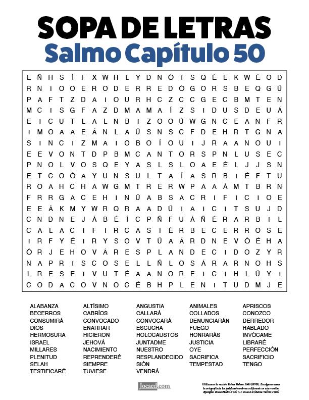 Sopa de Letras - Salmos Cápitulo 50