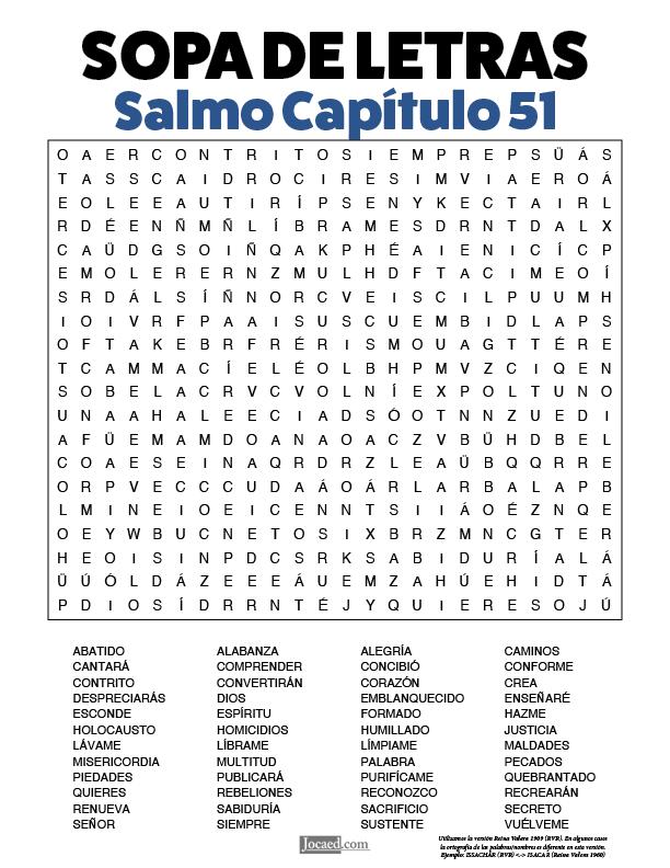 Sopa de Letras - Salmos Cápitulo 51