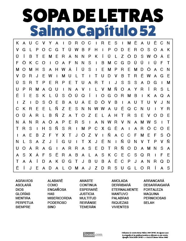 Sopa de Letras - Salmos Cápitulo 52