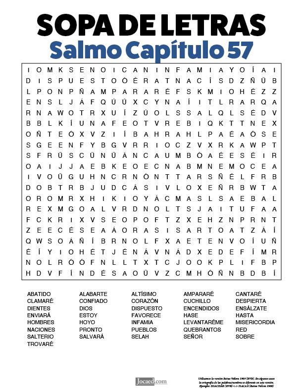 Sopa de Letras - Salmos Cápitulo 57