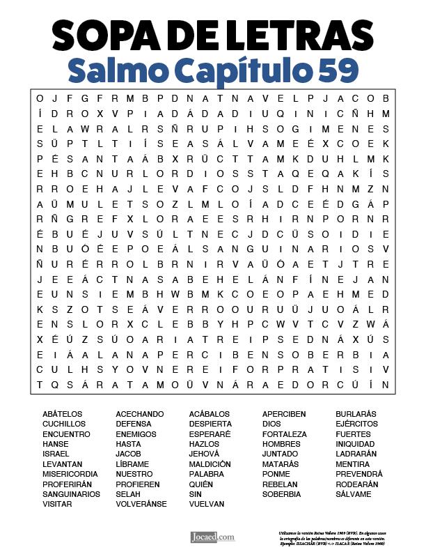 Sopa de Letras - Salmos Cápitulo 59