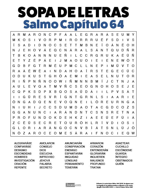 Sopa de Letras - Salmos Cápitulo 64