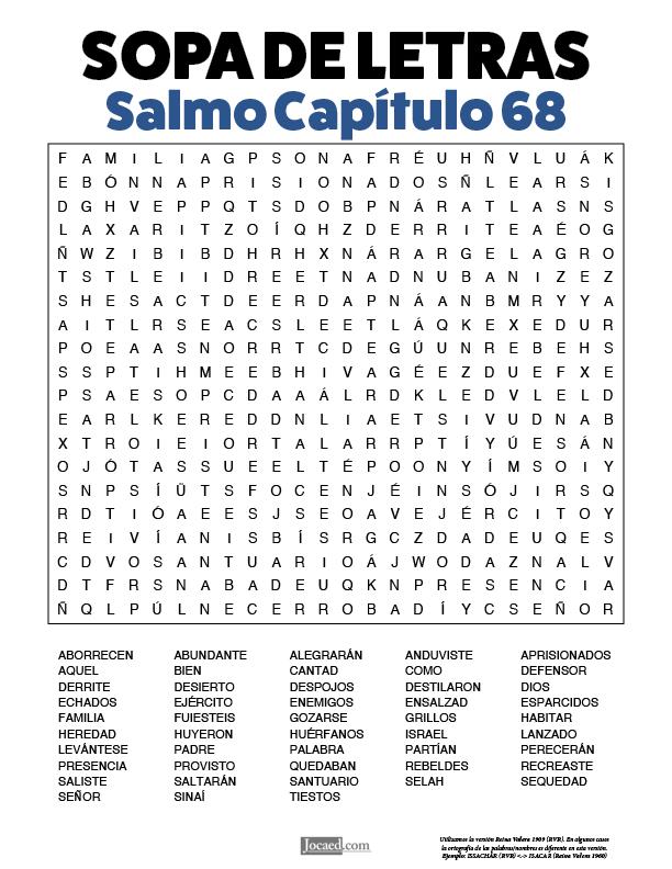 Sopa de Letras - Salmos Cápitulo 68