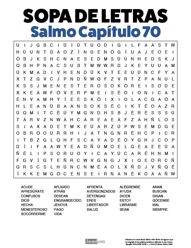 Sopa de Letras - Salmos Cápitulo 70