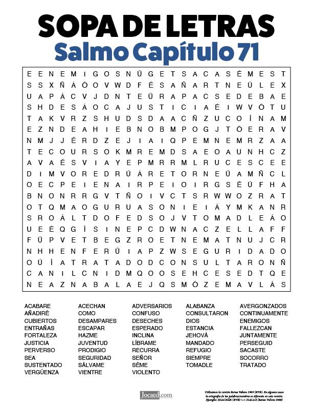 Sopa de Letras - Salmos Cápitulo 71