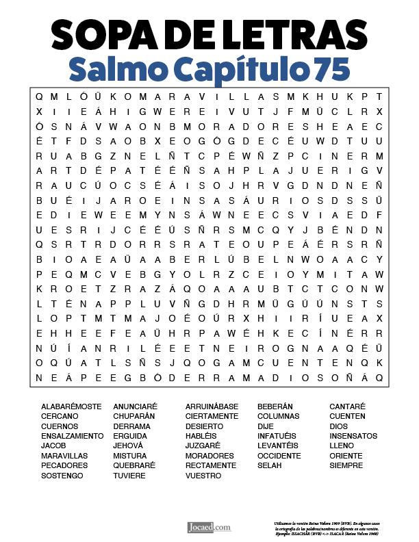 Sopa de Letras - Salmos Cápitulo 75