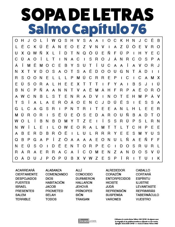 Sopa de Letras - Salmos Cápitulo 76