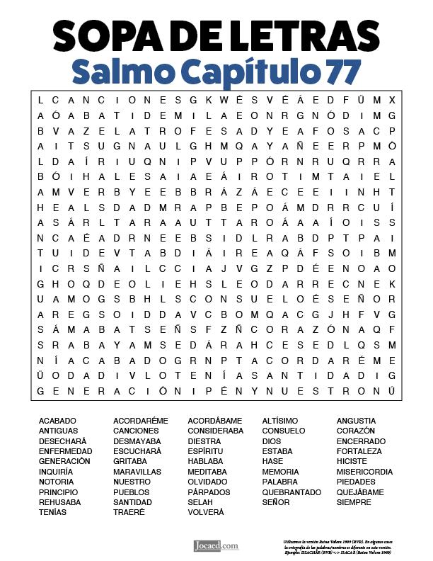 Sopa de Letras - Salmos Cápitulo 77