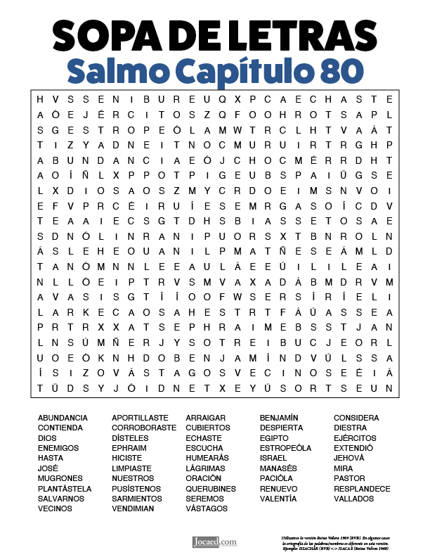 Sopa de Letras - Salmos Cápitulo 80
