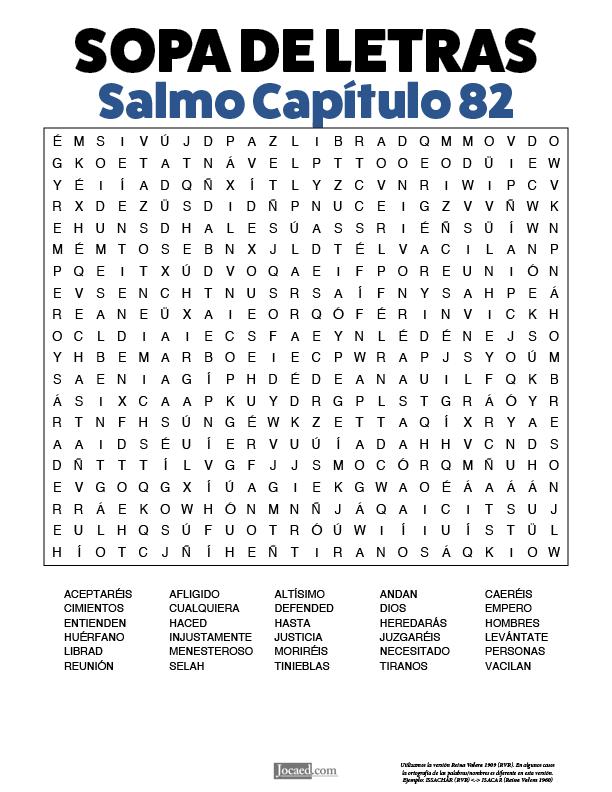 Sopa de Letras - Salmos Cápitulo 82