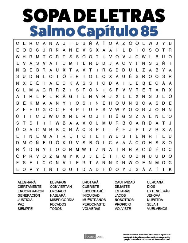 Sopa de Letras - Salmos Cápitulo 85