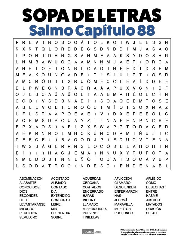 Sopa de Letras - Salmos Cápitulo 88
