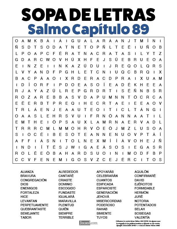 Sopa de Letras - Salmos Cápitulo 89