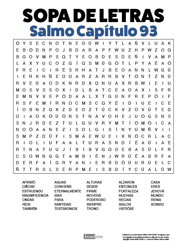 Sopa de Letras - Salmos Cápitulo 93