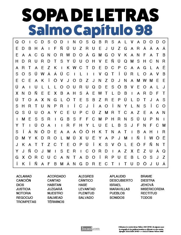 Sopa de Letras - Salmos Cápitulo 98