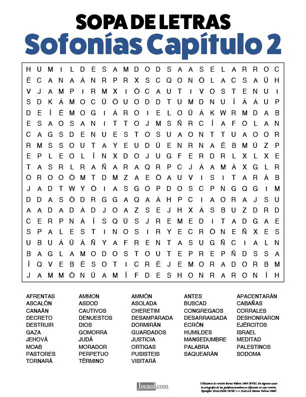 Sopa de Letras - Sofonías Cápitulo 2