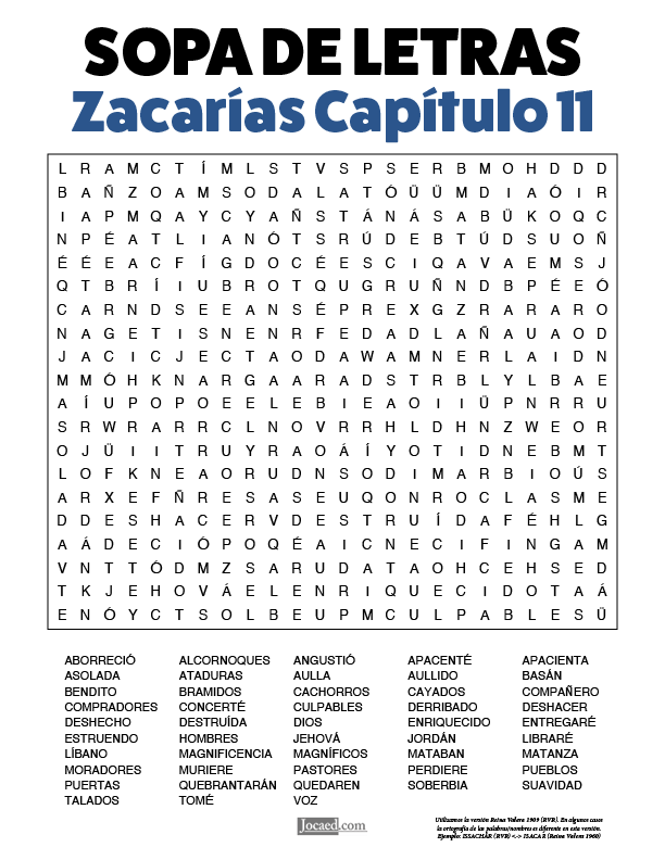 Sopa de Letras - Zacarías Cápitulo 11