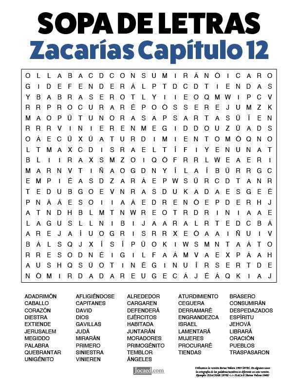 Sopa de Letras - Zacarías Cápitulo 12