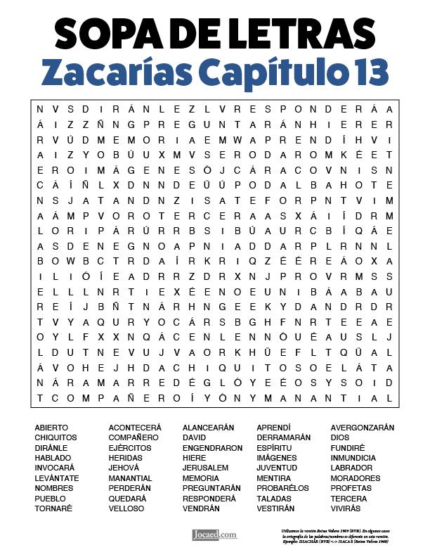 Sopa de Letras - Zacarías Cápitulo 13