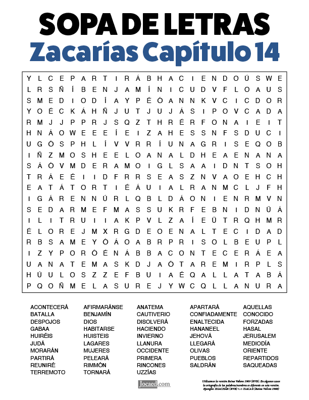 Sopa de Letras - Zacarías Cápitulo 14