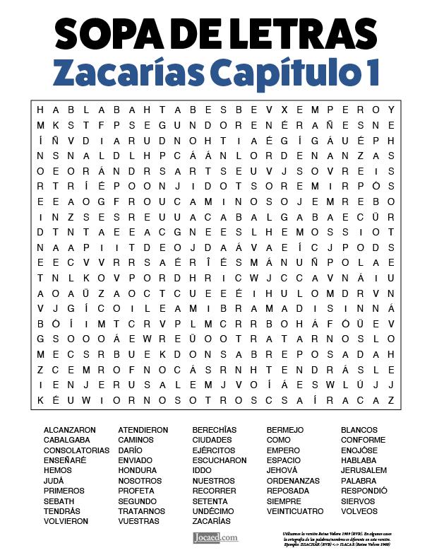 Sopa de Letras - Zacarías Cápitulo 1