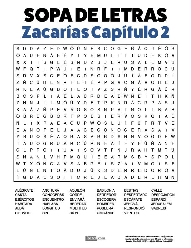 Sopa de Letras - Zacarías Cápitulo 2