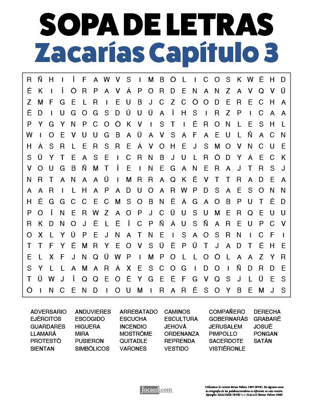 Sopa de Letras - Zacarías Cápitulo 3