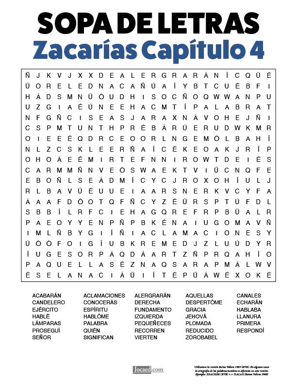 Sopa de Letras - Zacarías Cápitulo 4