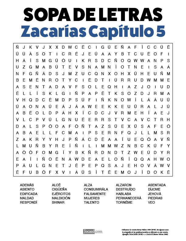 Sopa de Letras - Zacarías Cápitulo 5