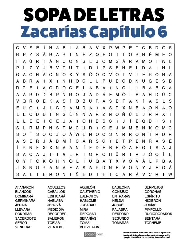 Sopa de Letras - Zacarías Cápitulo 6