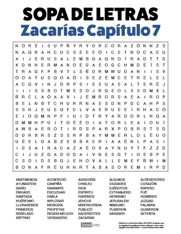 Sopa de Letras - Zacarías Cápitulo 7