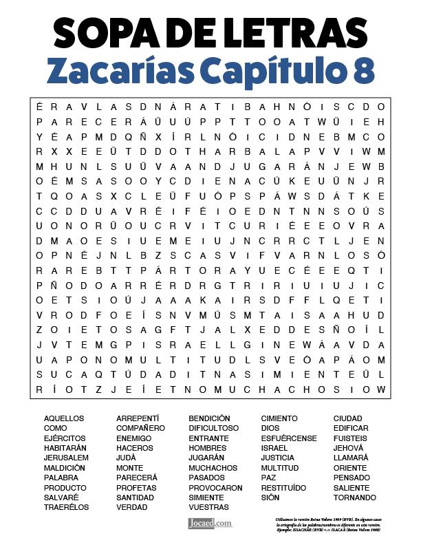 Sopa de Letras - Zacarías Cápitulo 8