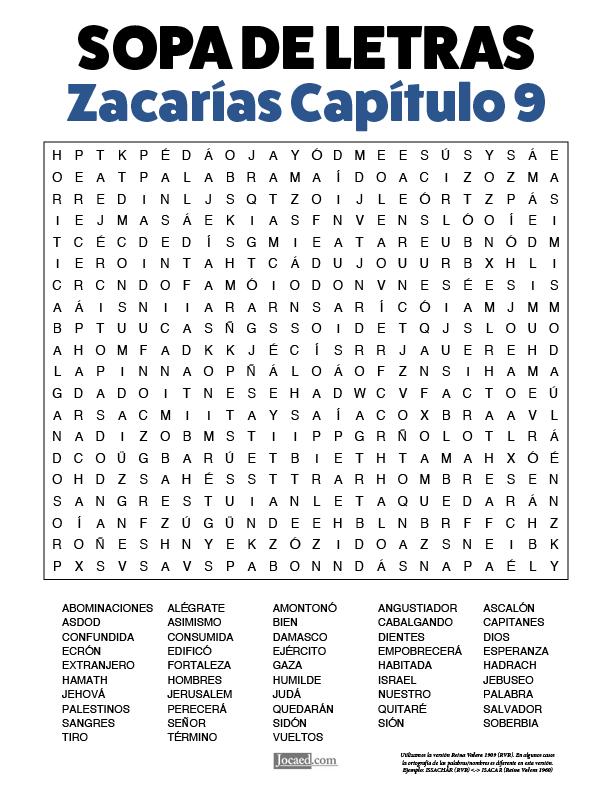 Sopa de Letras - Zacarías Cápitulo 9